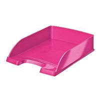 Bright Letter Tray Stackable Glossy Metallic Pink