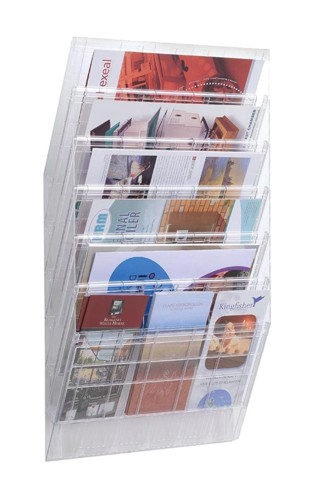 Durable Flexiboxx Literature Holder Wall Mountable 6 Pockets Landscape A4 or 12x A5 Clear Ref 1709785400