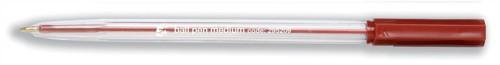 5 Star Ball Pen Clear Barrel Medium 1.0mm Tip 0.4mm Line Red [Pack 50]