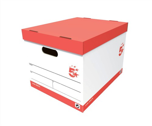 5 Star Storage Box for 5 A4 Lever Arch Files W317xD384xH287mm White and Black [Pack 10]