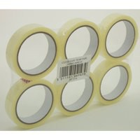 5 Star Clear Tape Roll Large Easy-tear Polypropylene 40 Microns 25mm x 66m [Pack 6]
