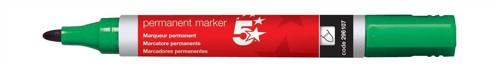 5 Star Permanent Marker Xylene/Toluene-free Smearproof Bullet Tip 2mm Line Green [Pack 12]