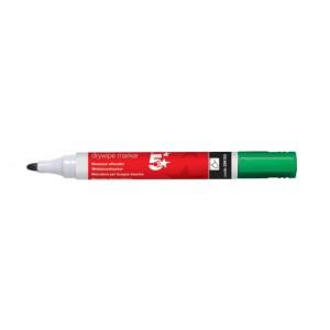 5 Star Drywipe Marker Xylene/Toluene-Free Bullet Tip 3mm Line Green [Pack 12]