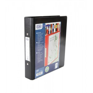 Elba Vision Ring Binder PVC Clear Front Pocket 2 O-Ring Size 25mm A5 Black Ref 100080885