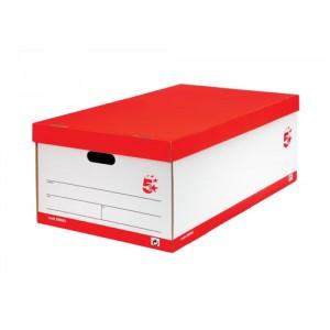 5 Star Jumbo Storage Box W412xD715xH276mm White and Black [Pack 5]