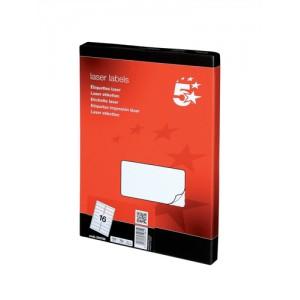 5 Star Addressing Labels Laser 16 per Sheet 99.1x34mm White [1600 Labels]
