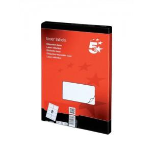 5 Star Addressing Labels Laser 8 per Sheet 99.1x67.7mm White [800 Labels]