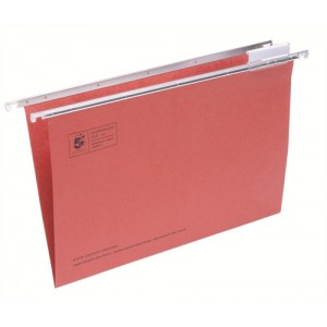 5 Star Suspension File Manilla Heavyweight with Tabs and Inserts Foolscap Red Ref 100331397 [Pack 50]