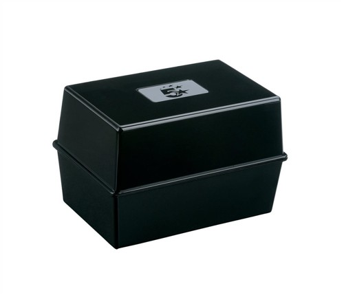 5 Star Card Index Box Capacity 250 Cards 8x5in 203x127mm Black