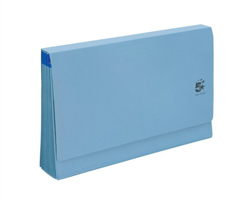5 Star De Luxe Expanding File with Flap 16 Pockets A-Z 12 Months 1-31 Foolscap Blue