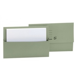 5 Star Document Wallet Half Flap 250gsm Capacity 32mm Foolscap Green [Pack 50]