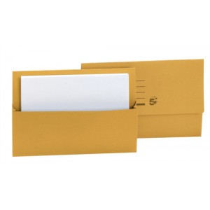5 Star Document Wallet Half Flap 250gsm Capacity 32mm Foolscap Yellow [Pack 50]