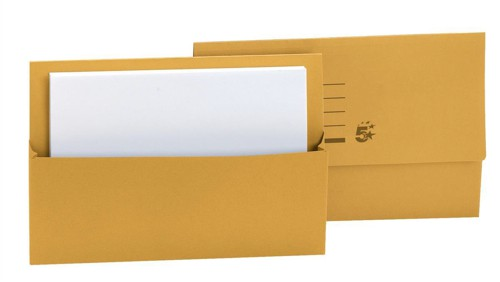 5 Star Document Wallet Fcap 250gm Yellow