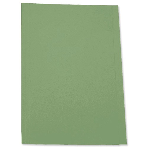 5 Star Square Cut Folder Recycled Pre-punched 250gsm Foolscap Green [Pack 100]