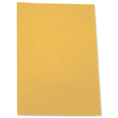 5 Star Square Cut Folder Recycled Pre-punched 250gsm Foolscap Yellow [Pack 100]