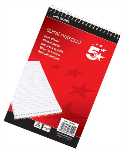5 Star Spiral Note Pad 80Lf NS97595