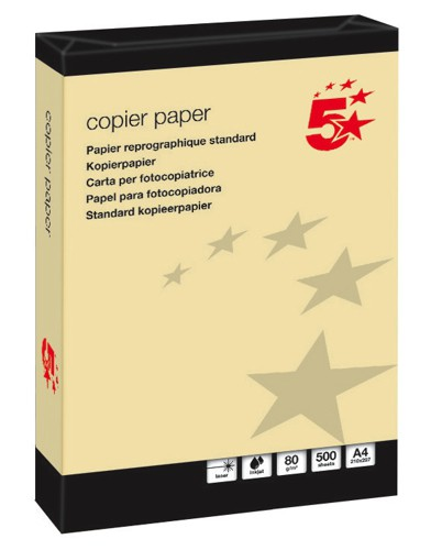 5 Star Coloured Copier Paper Multifunctional Ream-Wrapped 80gsm A4 Yellow [500 Sheets]