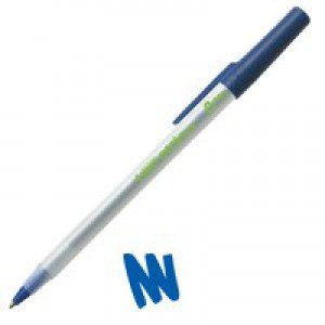 Bic Ecolutions Stic Ball Pen Recycled Slim 1.0mm Tip 0.4mm Line Blue Ref 893240 [Pack 60]