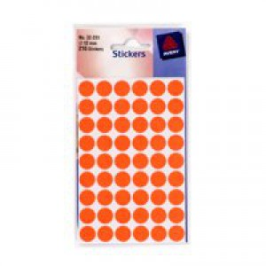 Avery Packets of Labels Diam.12mm Fluorescent Red Ref 32-281 [10x216 Labels]