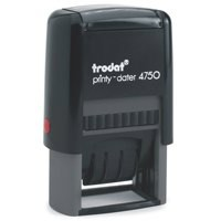Trodat EcoPrinty 4750 Stamp Self-Inking Word and Date Stamp - Checked - 40x24mm Red and Blue Ref 54293