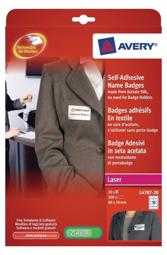 Avery Name Badge Labels Laser Self-adhesive 80x50mm Blue Border Code L4787-20