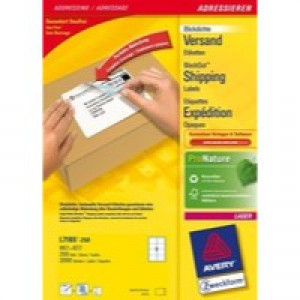 Avery Laser Labels 99.1x67.7mm For Parcels 8 Per Sheet White 320 Labels FSC Code L7165-40