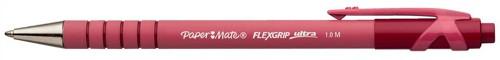 Paper Mate Flexgrip Retractable Ball Pen Medium 1.0mm Tip 0.4mm Line Red Ref S0190413 [Pack 12]