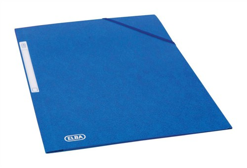 Elba Folder Elasticated 3-Flap 500gsm for 300 Sheets A4-Foolscap Blue Ref 100200978 [Pack 10]