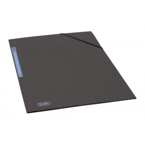 Elba Folder Elasticated 3-Flap 500gsm for 300 Sheets A4-Foolscap Black Ref 100200987 [Pack 10]