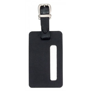 Alassio Luggage Tag 115x70mm Leather-look Black Ref 43115