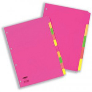 Concord Fluorescent Subject Dividers 230 Micron Punched 4 Holes 5-Part A4 Assorted Ref 89099