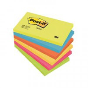 Post-it Colour Notes Pad of 100 Sheets 76x127mm Energetic Palette Rainbow Colours Ref 655TF [Pack 6]