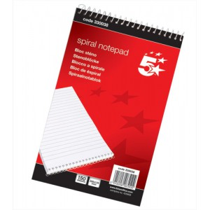 5 Star Office Spiral Notepad Headbound Ruled 300 Pages 200x125mm