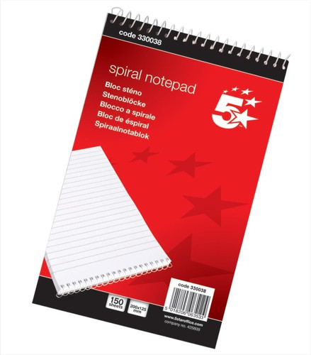 5 Star Spiral Notepad Headbound Ruled 300 Pages 125x200mm [Pack 10]