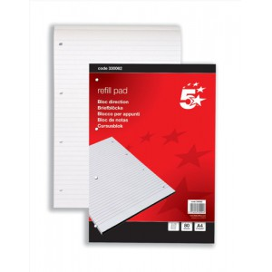 5 Star Refill Pad Headbound Feint Ruled 60gsm 4-Hole Punched 80 Sheets A4 [Pack 10]