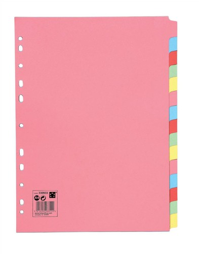 5 Star Subject Dividers Multipunched Manilla Board 15-Part A4 Assorted