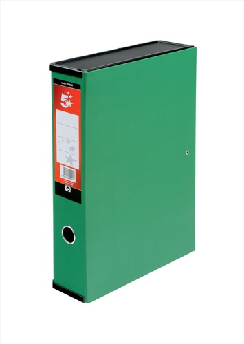 5 Star Box File Lock Spring with Ring Pull and Catch 75mm Spine Foolscap Green [Pack 5]