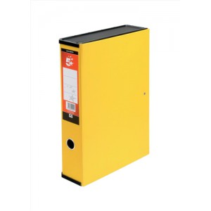 5 Star Box File Lock Spring with Ring Pull and Catch 75mm Spine Foolscap Yellow [Pack 5]