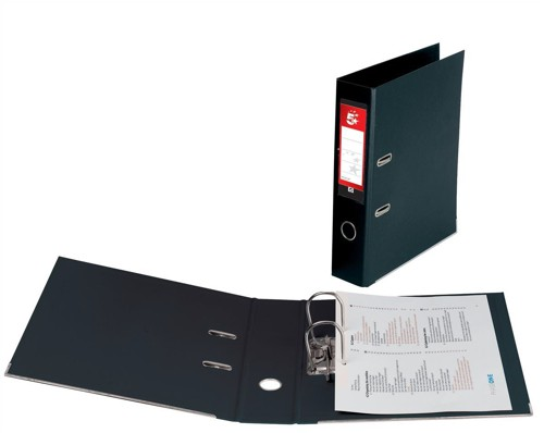 5 Star Lever Arch File PVC Spine 70mm A4 Black [Pack 10]