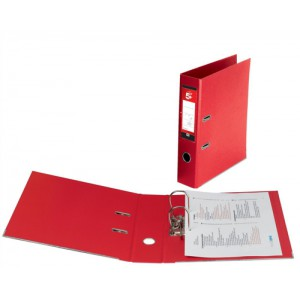 5 Star Lever Arch File PVC Spine 70mm A4 Red [Pack 10]