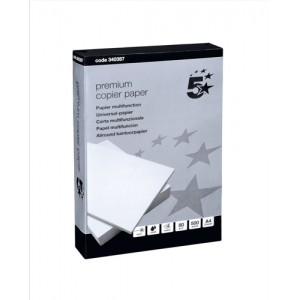 5 Star Copier Paper Smooth Ream-Wrapped 80gsm A4 High White [5 x 500 Sheets]