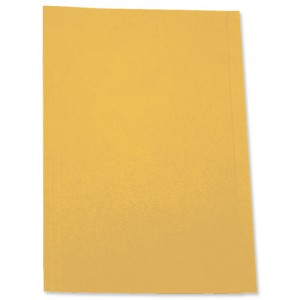 5 Star Square Cut Folder Recycled Pre-punched 180gsm Foolscap Yellow [Pack 100]