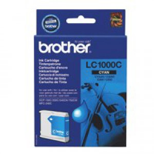 Brother Inkjet Cartridge Page Life 400pp Cyan Ref LC1000C