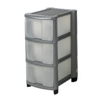 Image for Strata Storage Unit Mobile 3 Drawer W320xD410xH630mm Silver Ref HW430SVR