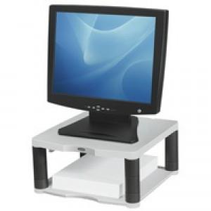 Fellowes Premium Monitor Riser for 21in Capacity 36kg 5 Heights 64-165mm Platinum Ref 91717