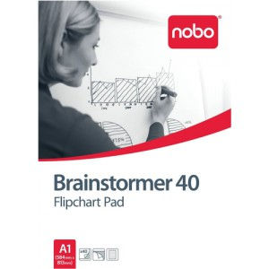 Nobo Brainstormer Flipchart Pad Perforated 40 Sheets A1 Feint Lined Ref 34633719 [Pack 5]