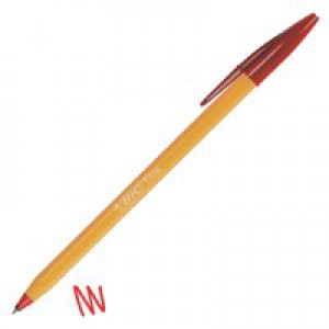 Bic Orange Ball Pen 0.8mm Tip 0.2mm Line Red Ref 1199110112 [Pack 20]