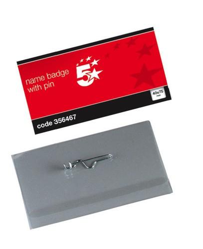 5 Star Name Badge 40X75mm & Pin Pk100
