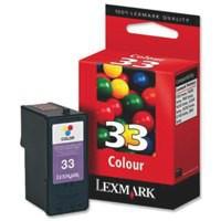 Lexmark No. 33 Inkjet Cartridge Page Life 190pp Colour Ref 018CX033E