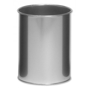 Durable Round Waste Bin Metal 15Litres Silver Code 3301/23